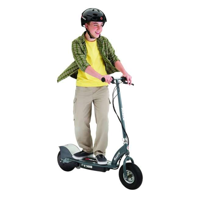 13113614 + 97778 + 96785 Razor E300 Electric Scooter (Grey) with Helmet, Elbow and Knee Pads 2