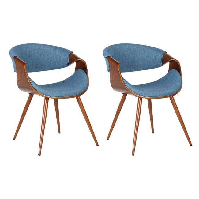 LCBUCHWABL Armen Living Blue Fabric and Walnut Wood Finish Mid Century Dining Side Chair (2 Pack)