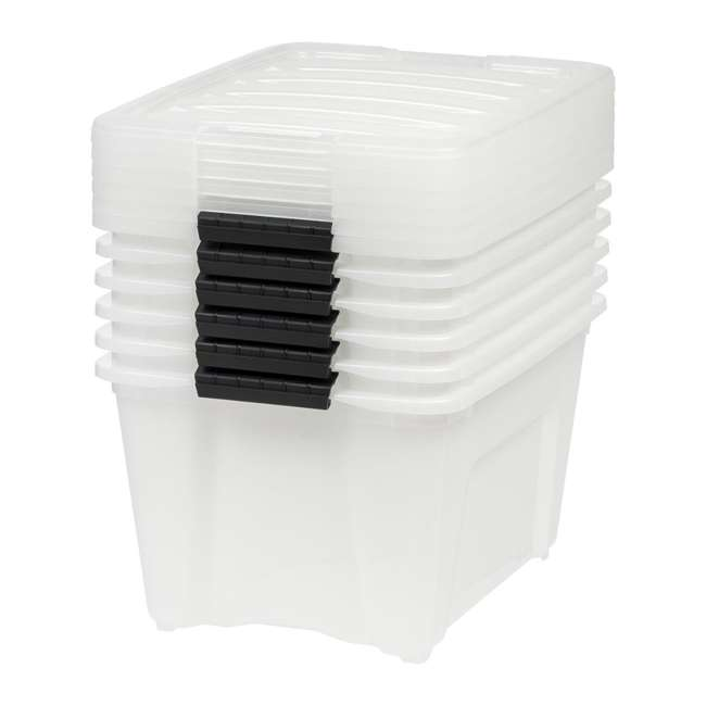 588248-6PK IRIS 32 Quart Stack and Pull Storage Container Box Bin System w/ Lids (6 Count) 1