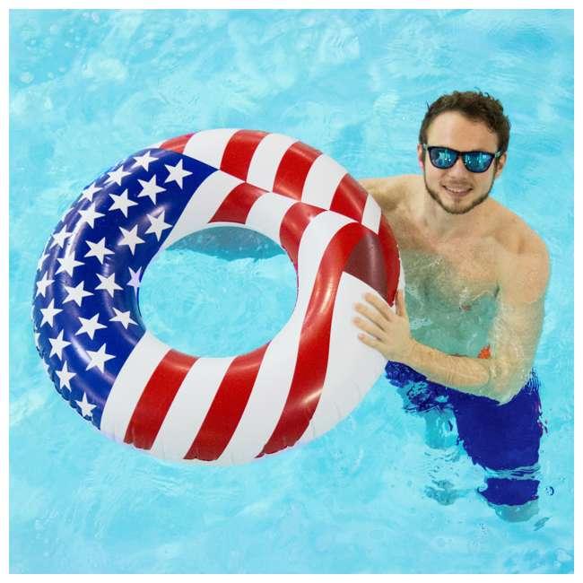 12 x 90196 Swimline 36 Inch Inflatable American Flag Swimming Pool Tube Float (12 Pack) 4
