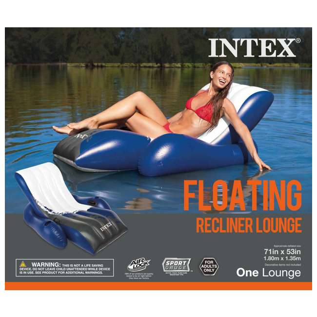 9047 + 58868EP Swimline Swimming Pool Inflatable Floating Lounger Chair & Recliner w/ Cup Holders 3