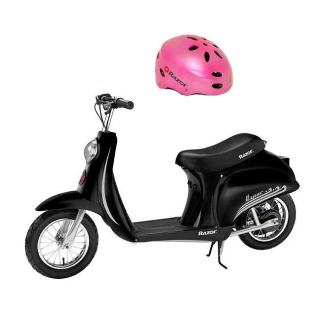 15130601 + 97784 Razor Pocket Mod Electric Kids Motor Scooter & Helmet