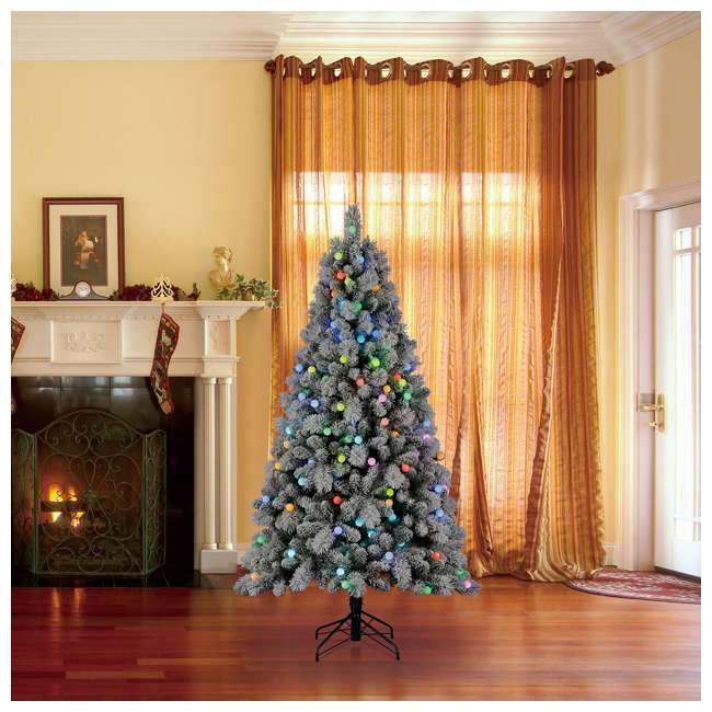 TG70M3W92P00 Home Heritage Cascade 7 Foot Flocked Prelit Artificial Christmas Tree w/ Stand 4