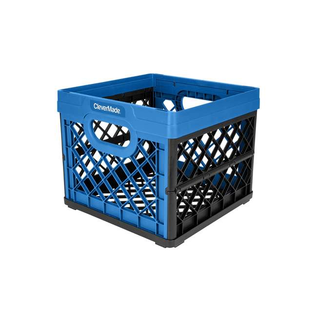 8034175-21843PK CleverMade MilkCrates Plastic 25L Collapsible Utility Crate, Royal Blue (3-Pack)
