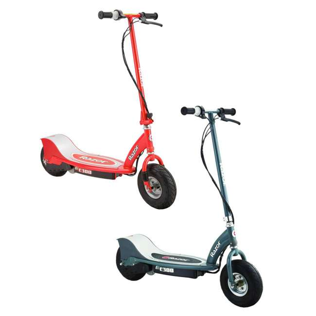 13113697 + 13113614 Razor E300 Electric Motorized Scooters, 1 Red & 1 Gray