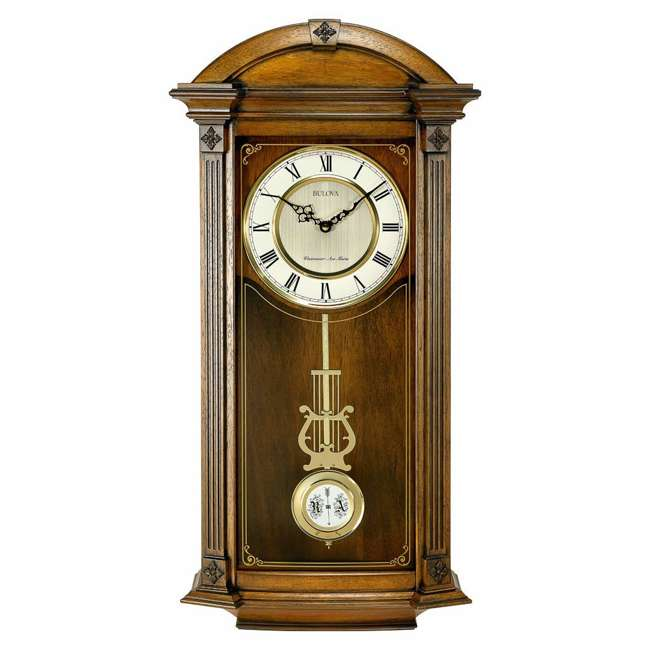 C4331 Bulova Clocks C4331 Hartwick 29 Inch Large Classic Walnut Pendulum Wall Clock