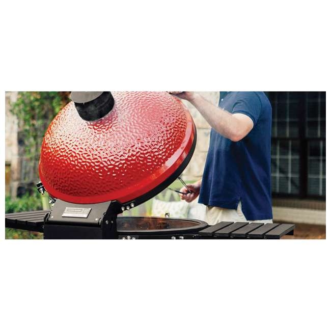 BJ24RHC-U-B Kamado Joe Big Joe II 24 Inch Portable Ceramic BBQ Charcoal Grill, Red (Used) 4