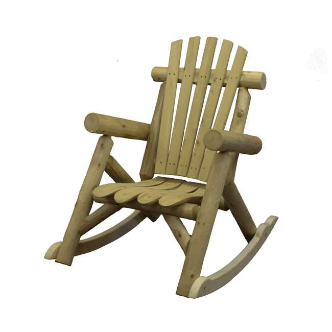 CF1125 Lakeland Mills Country Cedar Log Wood Outdoor Porch Patio Rocking Chair, Natural