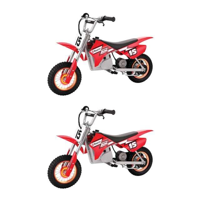 15128060 Razor MX400 Dirt Rocket 24V Toy Motocross Motorcycle Dirt Bike, Red (2 Pack)