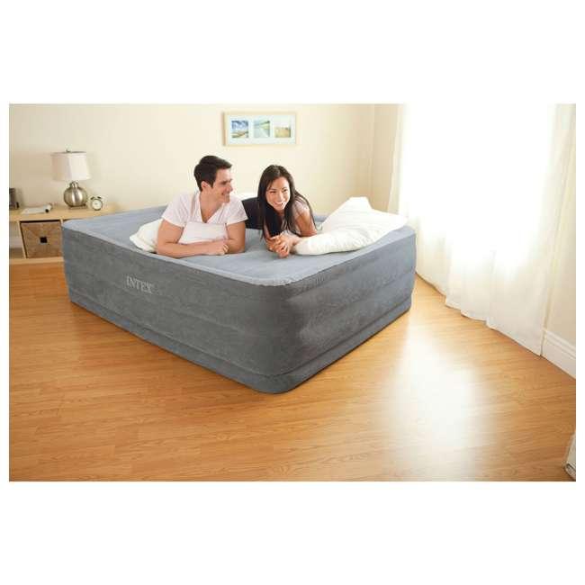 64417E Intex Queen Comfort Plush High Rise Dura-Beam Air Bed Mattress w/ Built-In Pump 64417E 2