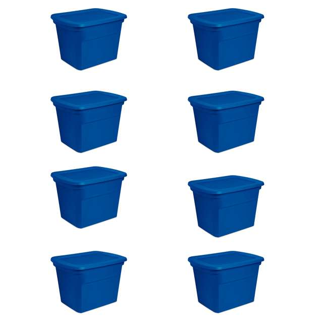 8 x 17311C08 Sterilite 18 Gallon Heavy Duty Stackable Storage Tote, Blue Morpho (8 Pack)