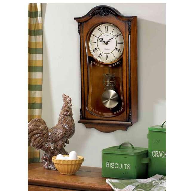 C3542 Bulova Clocks Cranbrook Wall Mount Analog Wooden Chiming Clock, Brown 1