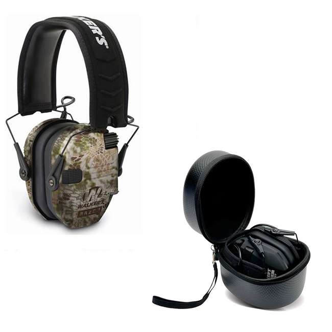 GWP-RSEM-KPT + GWP-REMSC Walkers Razor Slim Electronic Ear Muffs (Kryptek Camo) & Storage Carrying Case
