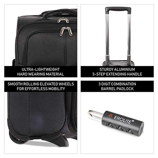 AERO9611 BLACK FBA Aerolite Maximum Allowance Heavy Duty Airline Approved Carryon Suitcase, Black 2