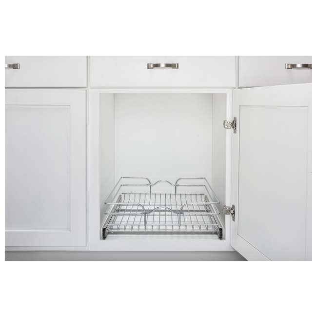 """5WB1-1520CR-1 Rev-A-Shelf 5WB1-1520CR-1 15"""" x 20"""" Single Kitchen Cabinet Pull Out Wire Basket 1"""