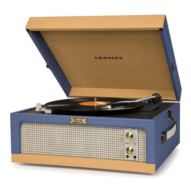 CR6234A-BT Crosley Dansette Junior Vintage-Style Portable Turntable, Blue and Tan
