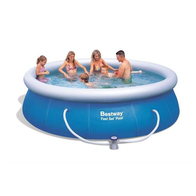 """57278E-BW Bestway 12' x 36"""" Fast Set Inflatable Above Ground Pool w/ Filter Pump (2 Pack) 1"""