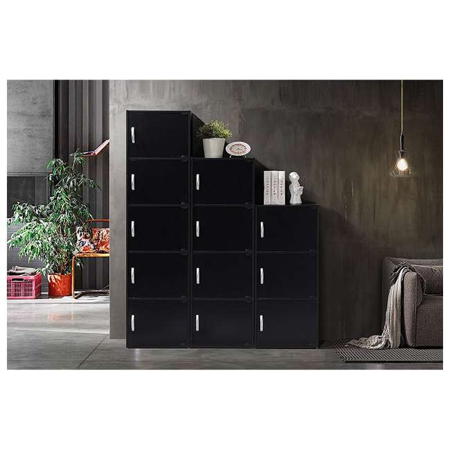 HID4 BLACK Hodedah 4 Door Enclosed Multipurpose Storage Cabinet for Home or Office, Beech 4