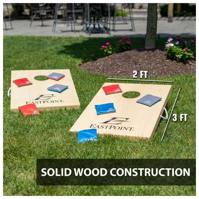 1-1-16954-DS EastPoint Sports Solid Wood Bean Bag Toss Cornhole Yard Game Board Set with Bags 2