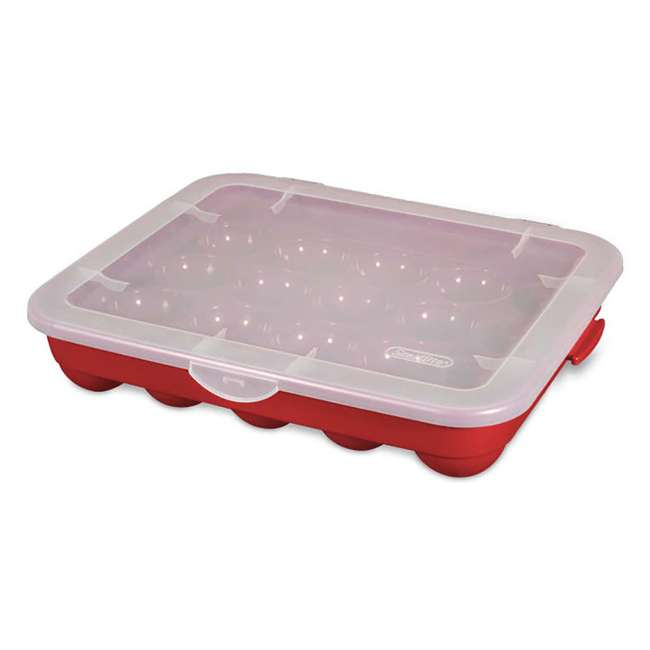"18 x 19766606-U-A Sterilite 20 Compartment 3"" Ornament Storage Case w/ Lid Red (Open Box)(18 Pack)"