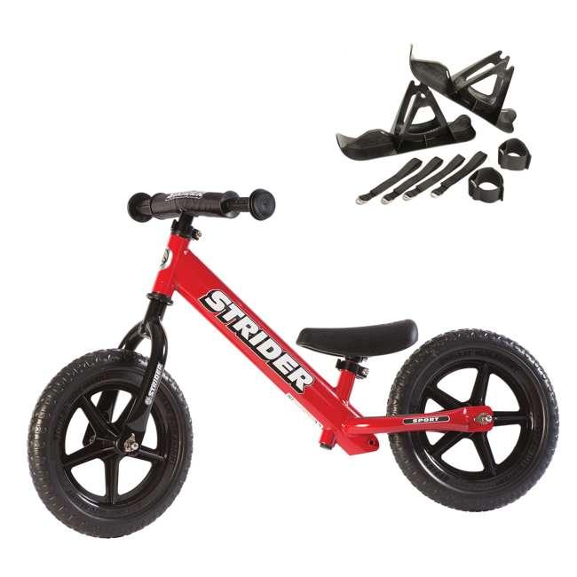 ST-S4RD + PSKISET-12-BK Strider 12 Sport Balance Kids Learning Bike, Red + Strider 12 Inch Bike Snow Ski Set
