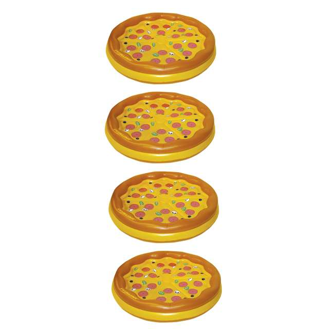 4 x 90647 Swimline Inflatable Personal Pizza Island Pool Float (4 Pack)