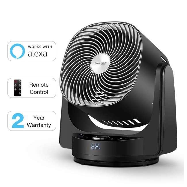AF1S Geek Aire AF1S 8 Inch Indoor Desk Floor Oscillating Fan with 4 Speeds (2 Pack) 2