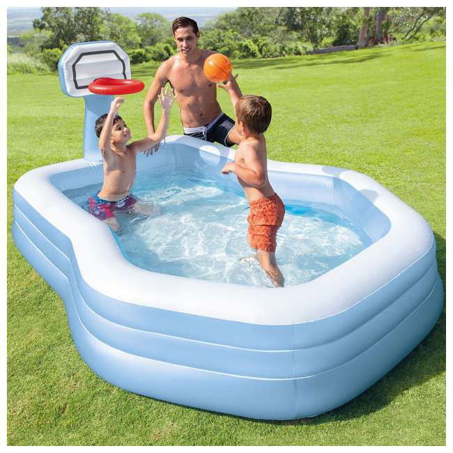57183EP Intex 57183EP 101 Inch Swim Center Shootin' Hoops Inflatable Family Pool, Blue 1