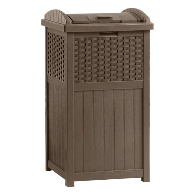 8 x GHW1732 Suncast Trash Hideaway 33 Gallon Resin Wicker Outdoor Garbage Container (8 Pack) 1
