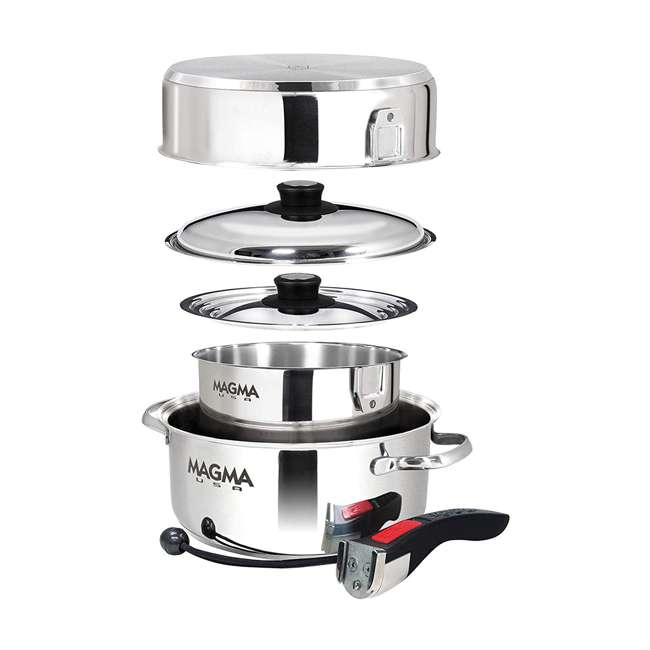 A10-362 Magma Products 7 Piece Stainless Steel Milled Flat Nesting Kitchen Cookware Set