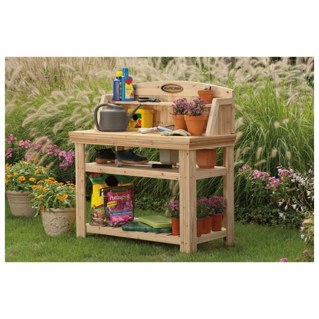Amazing Suncast Pt4500 Cedar Potting Bench With Natural Finish Bralicious Painted Fabric Chair Ideas Braliciousco