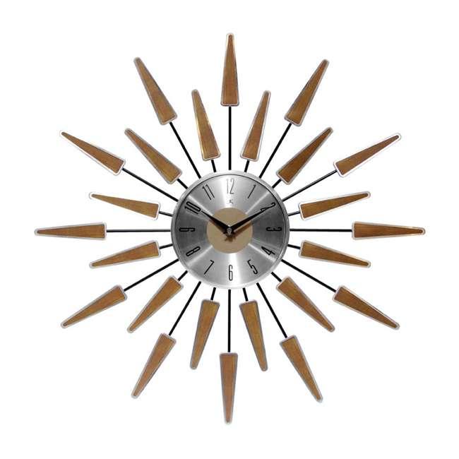 15196WL-4127 Infinity Instruments Sunburst Mid-Century Metal Satellite Wall Clock, Walnut