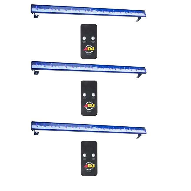 3 x ECO-UVBAR-PLUS-IR American DJ Eco UV Bar Plus IR Ultraviolet LED Black Light Fixture w/Remote (3)
