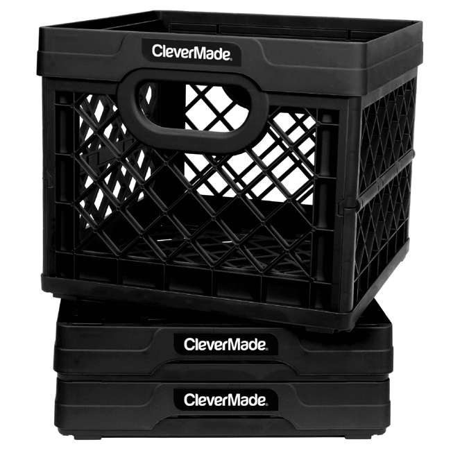 8034174-0063PK CleverMade MilkCrates Plastic 25L Collapsible Utility Crate, Black (3-Pack)