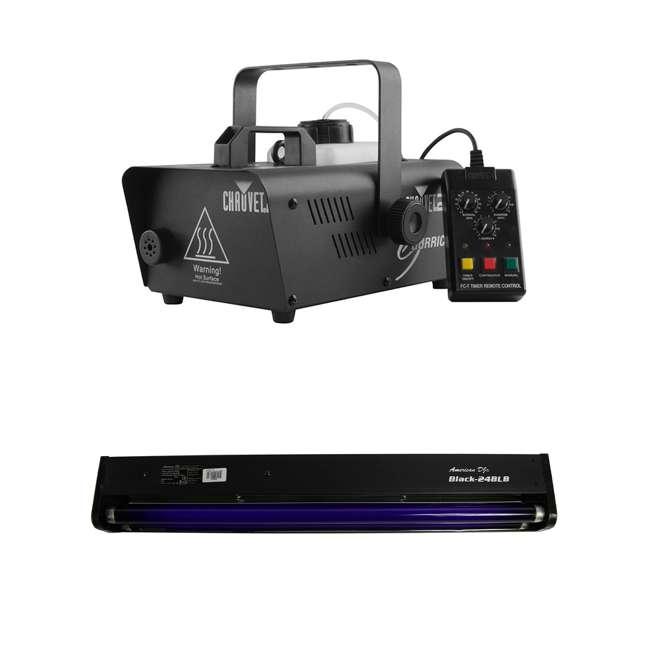 H1600 + BLACK-24BLB CHAUVET DJ Hurricane 1600 2.4L Pro Fog Smoke Machine + 24 Inch 20W Black Light