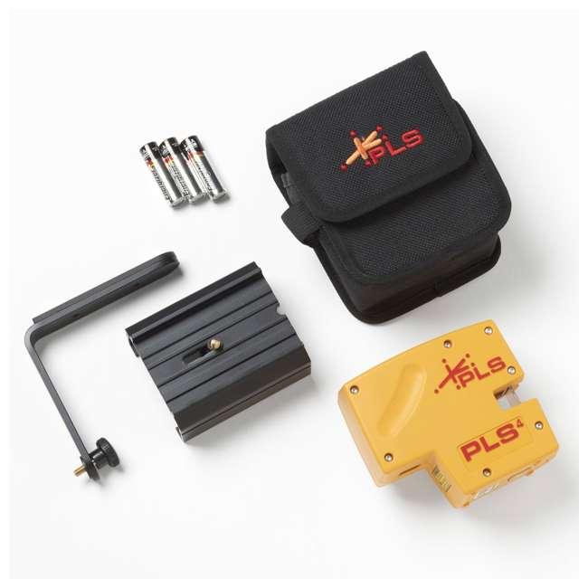 PLS-60574 Pacific Laser Systems PLS 4 Red Cross Line Laser Level w/ Plumb, Bob & Level 2