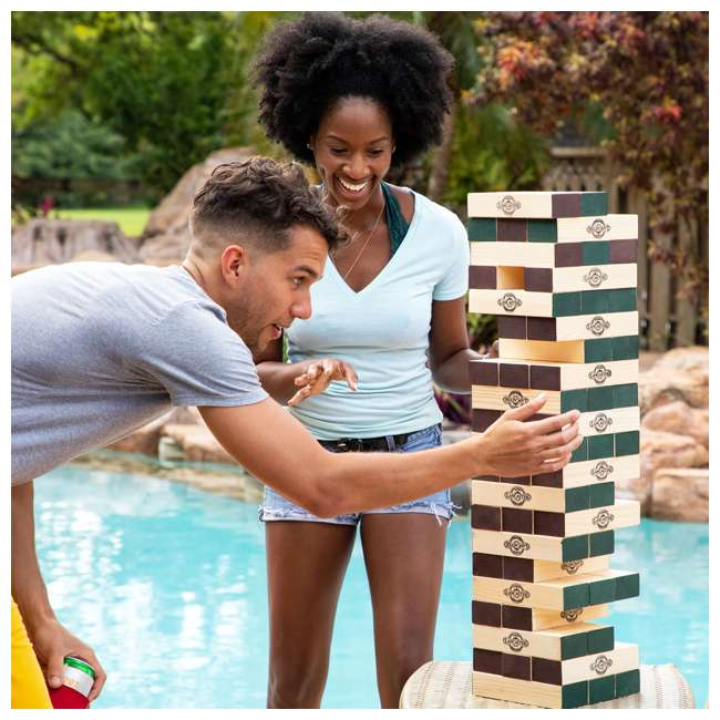 LG100Y19030 Lancaster Gaming Company Giant Wooden Tumbling Tower Outdoor Game, Black & Pine 9