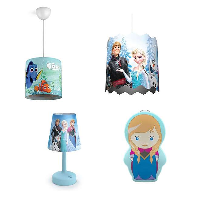 PLC-7175190U0 + PLC-7179608U0 + PLC-7175101U0 Philips Disney Dory Light with Frozen Lamp and Lampshade and Anna Nightlight