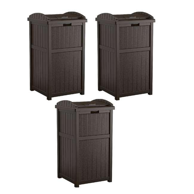 3 x GH1732J Suncast Trash Hideaway Outdoor Patio 33 Gal Garbage Waste Trash Can Bin (3 Pack)