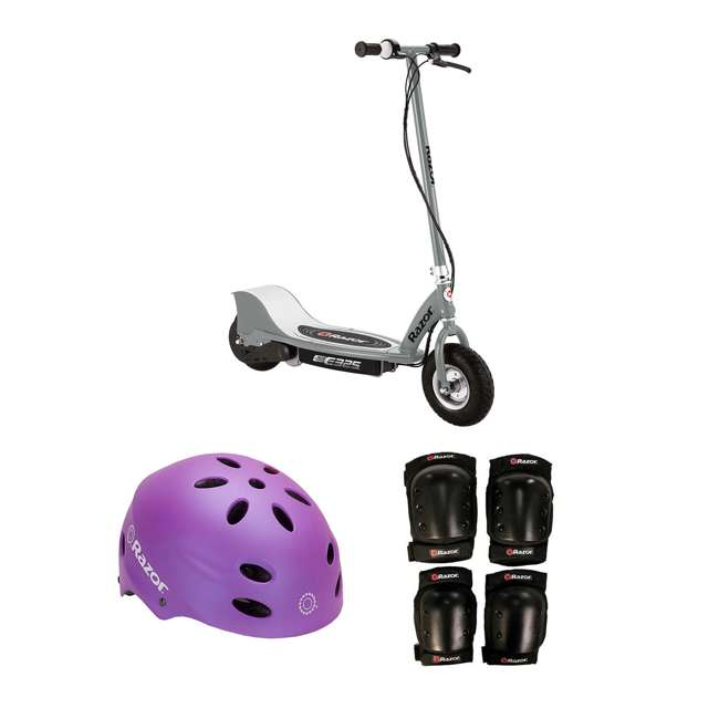 13116312 + 97961 + 96785 Razor Electric Kids Scooter, Silver + Youth Sport Helmet + Elbow & Knee Pads