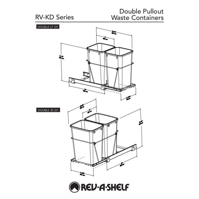 RV-18KD-17C S Rev-A-Shelf RV-18KD-17C S Double 35 Quart Pull-Out Waste Containers, Silver 5