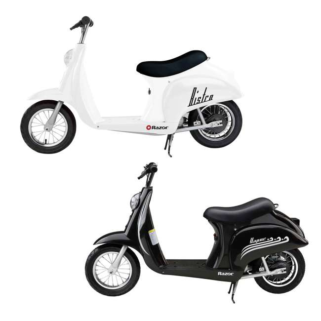 15130608 + 15130601 Razor Pocket Mod Miniature Electric Scooters, 1 White & 1 Black