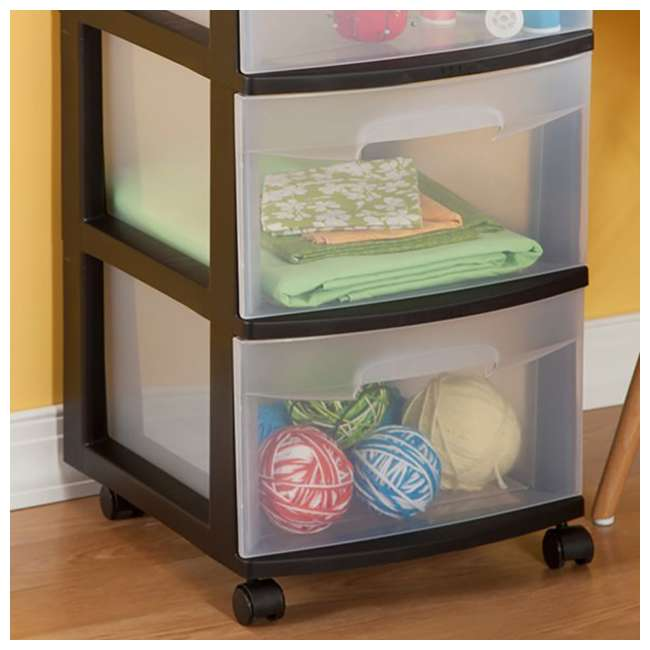 28309002-U-A Sterilite 3-Drawer Storage Cart Clear Drawers Black Frame (Open Box) (2 Pack) 4