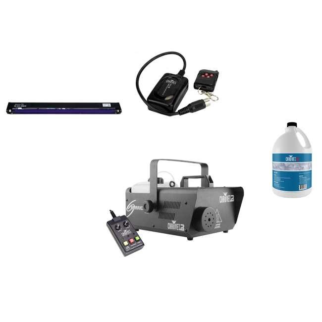 H1600 + BLACK-48BLB + FJU + FC-W Chauvet DJ Fog Machine & Wireless Remote & American DJ Blacklight & Fog Fluid