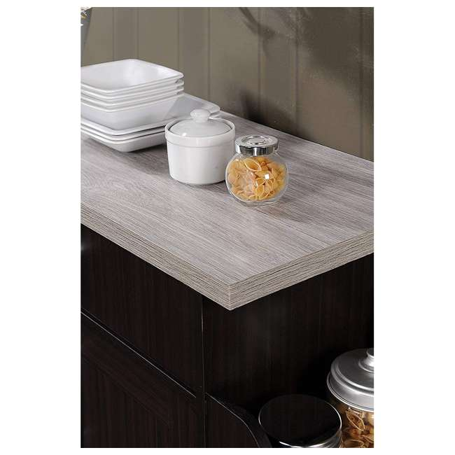 HIK78 CHOC-GREY Hodedah Wheeled Kitchen Island with Spice Rack and Towel Holder, Chocolate Gray 7