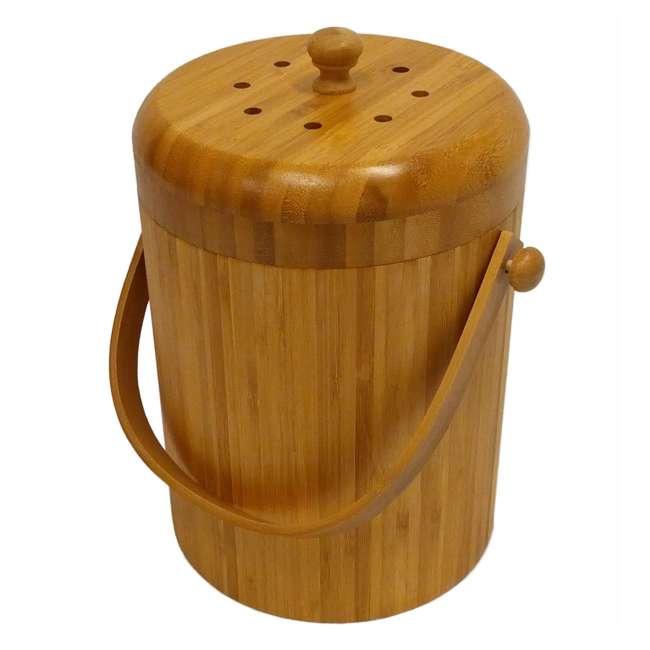 KA-BB3Q Good Ideas Portable 3-Quart Bamboo Kitchen Compost Pail w/ Odor-Blocking Filter