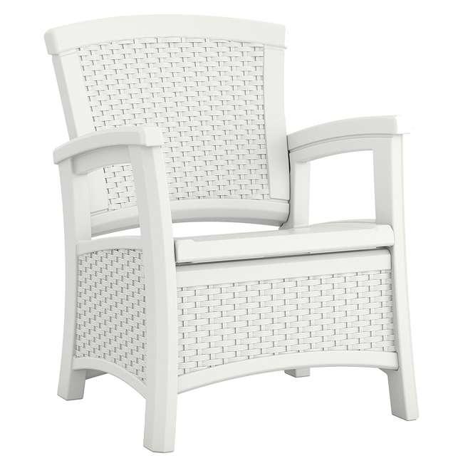 BMDB3010W + BMWB5000W + 2 x BMCC1800W Suncast Patio Coffee Table, Loveseat w/ Storage, Club Chair w/ Storage (2 Pack) 10