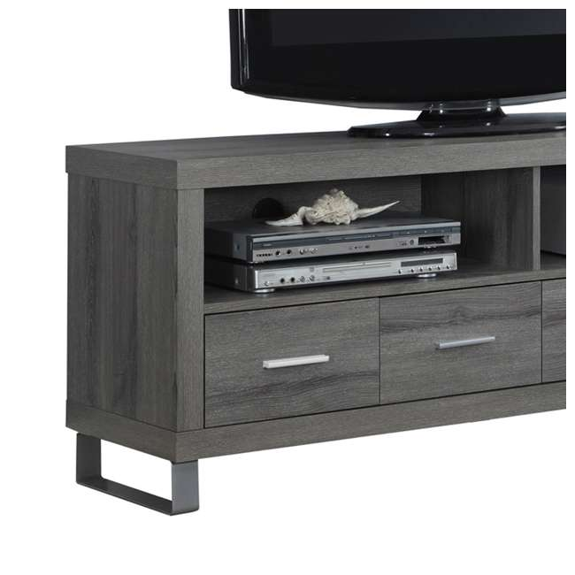 "MS-VM2517-U-B Monarch Specialties 60"" Entertainment TV Stand w/ 4 Drawers, Dark Taupe (Used) 4"