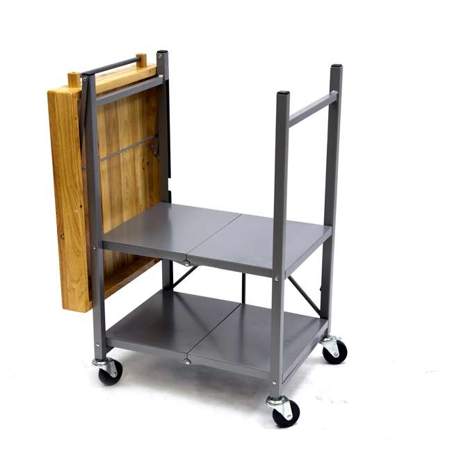 RBT-02 Origami Foldable Wheeled Kitchen Island Cart, Silver 4