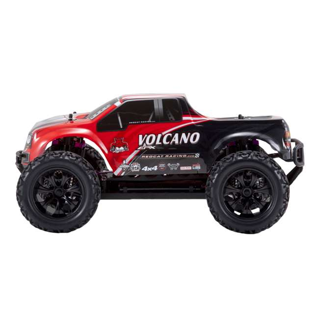 4 x VOLCANOEP-94111-RedBlack-24 Redcat Racing Volcano EPX 1:10 Scale RC Monster Truck, Red (4 Pack) 4